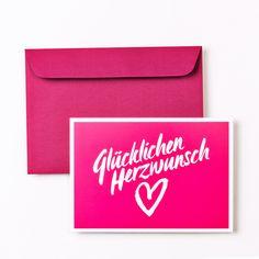 Typografische Design Geburtstagskarte DIN A5 inkl. Umschlag und Miniumschlag auf der Rückseite. Für Geldgeschenke, Gutscheine und sonstige Herzwünsche.