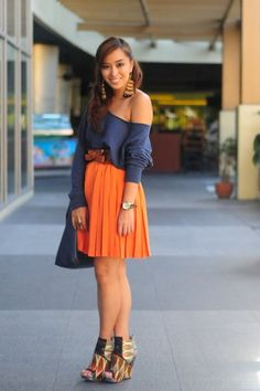 my last day of may - orange waist high knee length pleated full circle skirt, navy blue off shoulder long sleeve blouse, brown waist belt, feather dangle earrings