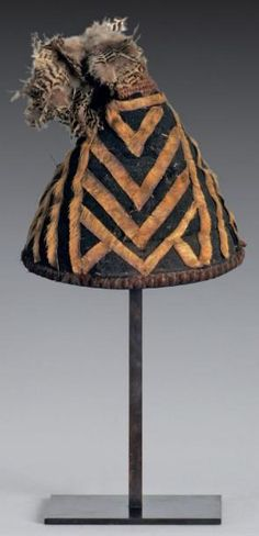 Africa | Hat 'Lapuum' from the Kuba (Bushoong) people of the Kasai region of DR Congo | Vegetal fiber, feathers and antelope skin.