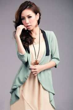 Tailored Collar Pure Color Chiffon Outerwear