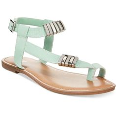 Bar Iii Verna Embelished Flat Sandals ($42) ❤ liked on Polyvore featuring shoes, sandals, light mint, summer sandals, mint green flat sandals, strappy flat sandals, mint sandals and summer shoes