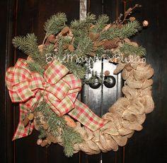 The Rustic Christmas Burlap Wreath Winter by BlueMountainBurlap