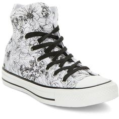 Converse Floral Lace-Up Sneakers ($18) ❤ liked on Polyvore featuring shoes, sneakers, converse, black, floral print shoes, laced shoes, black shoes, kohl shoes and lacing sneakers