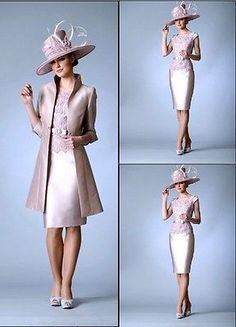 Lace+Satin Mother of the bride outfits Wedding Special Occasion Dress With Coat  in Clothes, Shoes & Accessories, Wedding & Formal Occasion, Bridesmaids' & Formal Dresses | eBay!
