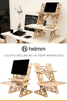 £235 with Prime next day delivery on Amazon - The Helmm S-Desk Voro Standing Desk Converter. CNC cut from sustainable birch plywood. Elevate your workplace wellbeing with one of these amazing, self supporting stand up desks by www.helmm.co