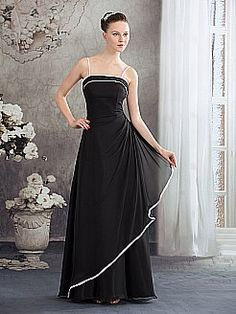 Spaghetti Straps Floor Length A Line Chiffon Evening Dress with Trim - USD $112.00