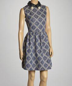 Loving this Black & Blue Collared Sleeveless Dress on #zulily! #zulilyfinds