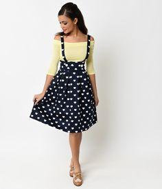 Iconic by UV Navy & White Hearts Jitterbug Suspender Skirt