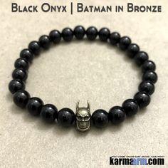 Yoga Bracelets Bronze Batman. Manifesting Meditation Tibetan Buddhist Beaded Mala Men & Women. #LOA Law of Attraction. Energy Healing. Black Onyx.