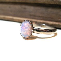 Vintage Pink Harlequin Opal Ring - WWII Era - Lace / Scalloped Setting - Silver - Rhodium Plated - Adjustable - 8x6mm