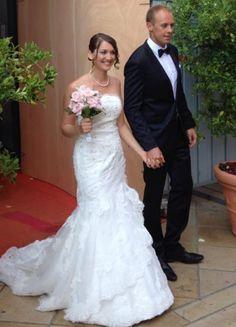 Robe de mariée taille basse en dentelle et tulle plumetis, commandé chez Mariage en Rose