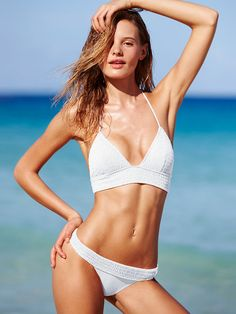 We dig the retro vibes. The long-line bikini is hotter than ever—white hot, actually. ;) Get a closer look on the Victoria's Secret Swim Special, March 9 at 9/8c on CBS. | Victoria's Secret The Smocked Babe Triangle Top