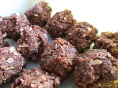 No Bake Energy Balls:    Oats, coconut, flaxseed, peanut butter, cocoa powder or chocolate chips (YUM!), honey and vanilla