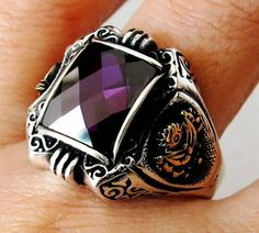 Handmade Amethyst Stone 925 Sterling Silver Men's Womans Ring #C110