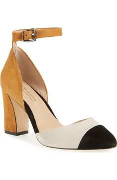 A floating ankle strap balances the chunky block heel of this modern color-blocked pump from the NSale.