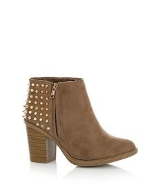 Light Brown Spike Stud Back Ankle Boots