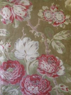 Antique French Softened Tree of Life Floral Cotton Fabric ~Rose Taupe Brown Sage