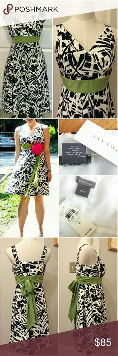 💲59✂NWT Ann Taylor Silk Dress Fit Flare Empire ⏩Timeless & refined, this 100% high-quality silk dress is something you will wear for years to come ⏩Intricate black & white abstract print with contrasting green ribbon sash attached. You can tie it in the back or front, highly versatile ⏩Surplice cross over neckline, hidden side zipper & pleating for a swooshy effect we love ⏩Fit & flare with empire waist does wonders for the waistline ⏩This dress is amazing on & has great movement. It will…