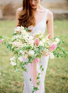 Stunning spring bouquet: http://www.stylemepretty.com/2015/04/05/pastel-easter-wedding-inspiration/ | Photography: Jodi Miller - http://jodimillerphotography.com/