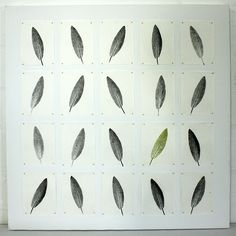 sage remarks II, leaf printed mulberry paper, silk/cotton thread.
