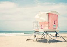 California Beach Photography, Lifeguard Tower, Pastel, Summer, San Diego, Pink, Beach Wall Art, 5x7 Print on Etsy, $15.00