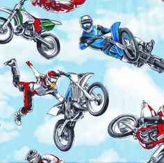 Dirt Bikes Extreme Sport Motorbikes Motocross Boys Quilt Fabric - Find a Fabric. Available to purchase in Fat Quarters, Half Metre, 3/4 Metre, 1 Metre and so on.