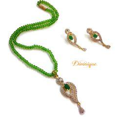 Green #ad #pendent #jewellery set shop online with #craftshopsindia