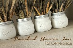 Add a rustic feel to your décor with these wheat filled mason jar centerpieces. Mason Jar Art, Fall Mason Jars, Mini Mason Jars, Mason Jar Crafts, Easy Thanksgiving Crafts, Fall Crafts, Pots, Mason Jar Projects, Mason Jar Centerpieces
