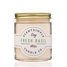 - Fresh Cut Basil Scent - 7 oz. jar - Approx. 40 hour burn time - Highest quality soy wax - Proudly American made Reminiscent of fresh cut basil from the herb garden; this aromatic and invigorating sc