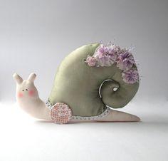 Stuffed animal toy Snail handmade plush toy by CherryGardenDolls, $26.00
