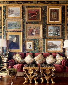 Chinoiserie Style living room with a Jade Green wallpaper and Garnet Red upholstered couch