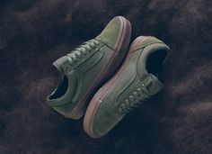 74ef5f70afe Vans Old Skool Olive Gum Suede Canvas - Sneaker Bar Detroit Cute Shoes