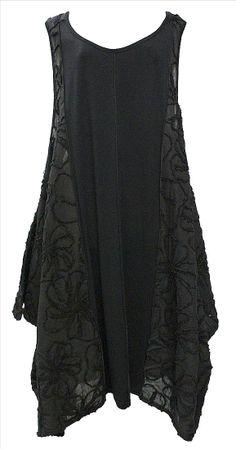 AKH Fashion Lagenlook elegantes Kleid Tunika mit Stickerei in schwarz XL Mode bei www.modeolymp.lafeo.de