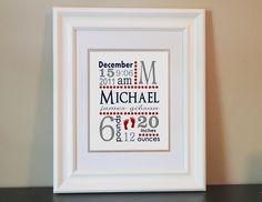 Baby Nursery Name Art Boy (Red, Blue & Gray)- 8x10 Personalized Digital Print- Printable. $14.00, via Etsy.