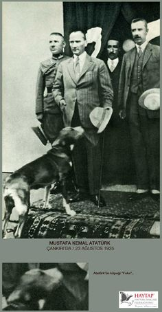 Mustafa Kemal Ataturk (founder of the Turkish Republic) with his dog Foks.