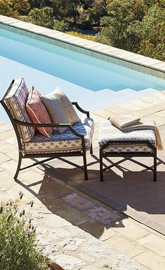 Our Karrington Seating borrows traditional cues from the outdoor classics and adds a contemporary twist with crisscross fretwork in back and curvy cutout arms. | Frontgate: Live Beautifully Outdoors