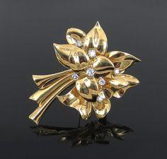 Vintage Ivan & Co 2.0ct Diamond & 18K Yellow Gold Flower Brooch #IvanCo