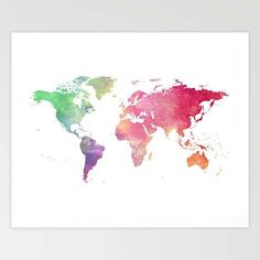 Political map of the world map art print 18x24 up to 24x36 1089 world map print printable world map in watercolor home decor travel artwork travel print map of the world art travel poster digital gumiabroncs Choice Image