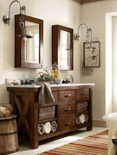 Benchwright Double Sink Console - Rustic Mahogany finish | Pottery Barn for the downstairs bathroom #doublesinkvanity #bathroomdecorideas