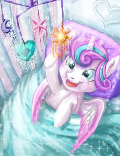 I love the mobile that Flurry Heart is looking at. When she gets her cutie mark, it will be up there. :-)