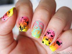 MoYou - Tropical 15 Flamingos- #nails #nailart #stamping #MoYou #flamingos #flamencos