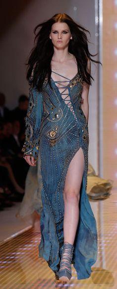 Versace - Abito lungo blu con lacci e spacco