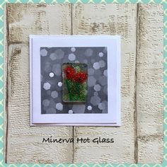 Fused Glass Greeting Card, Handmade, Red Poppy Flower, Floral Gifts, Hand crafted by Minerva Hot Gla Glass Wall Art, Fused Glass Art, Red Poppies, Tea Light Holder, Greeting Cards Handmade, Glass Ornaments, Tea Lights, Poppy, Hot