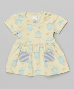 Look at this Broken Tricycle Yellow Cuckoo Clock Smock Top - Infant