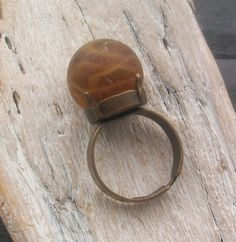 Scottish Sea Glass Marble Ring - CARAMEL SWIRL £16.00