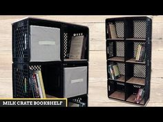 How to easily create a bookshelf with 8 milk crates! Milk Crate Shelves, Milk Crate Storage, Crate Bookcase, Bookshelf Diy, Wooden Crates Tv Stand, Crate Tv Stand, Diy Wooden Crate, Wine Crates, Milk Crate Furniture