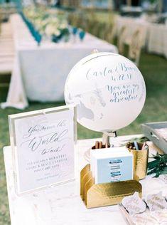 Wedding Card Box Globe, Well Wish Box Globe, Monetary Gift Box, with Custom Calligraphy Wedding Mailbox, Card Box Wedding, Wedding Show, Wedding Guest Book, Wedding Signs, Our Wedding, Calligraphy Cards, Wedding Calligraphy, Congratulations Graduate