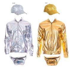 7ad74cd86b12 80s 90s Metallic RAVE Bomber Jacket Gold Silver Festival Fancy Dress Cap  Bumbag