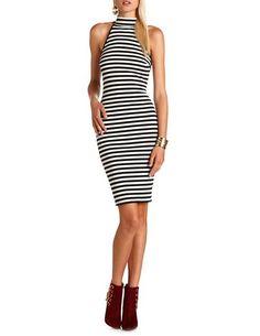 Striped Mock Neck Midi Dress: Charlotte Russe