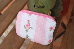 Pink Roses dot vintage lolita cute kawai wallet purse handmade art [ present, christmas, valentine, children, adult] by AriBRabbitStore on Etsy